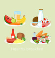 set of different breakfast vector image