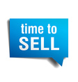 time to sell blue 3d realistic paper speech bubble vector image vector image