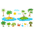 tropical palm tree set isolated on white vector image vector image