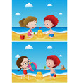 two scenes with kids playing sand vector image vector image