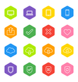 white line web icon set on colorful hexagon vector image vector image