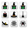 Witch Halloween buttons set vector image vector image