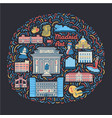 with famous madrid cultural places vector image vector image