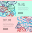 worldwide traveling flyers with visa stamps vector image
