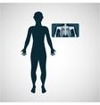 silhouette man x ray anatomy body vector image
