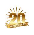 anniversary golden twenty years number vector image