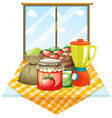 A table with foods near the window vector image