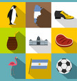 argentina icon set flat style vector image vector image