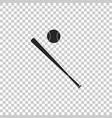 baseball ball and bat icon isolated vector image vector image