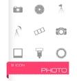 black photo icons set vector image vector image