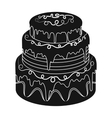 Blue three-ply cake icon in black style isolated vector image vector image