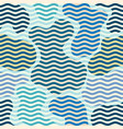 blue waves pattern in patchwork style vector image