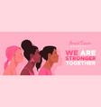 breast cancer month banner diverse women together