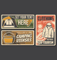 camping and hiking icons travel tourism outdoor vector image vector image