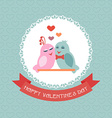 Card for Valentines Day Birds Ribbon Label vector image vector image