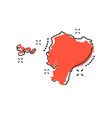 cartoon ecuador map icon in comic style ecuador vector image vector image