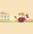 cartoon farm and agriculture background vector image vector image