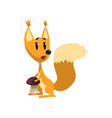 cartoon funny squirrel character holding mushroom vector image