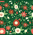 christmas flowers red white seamless vector image