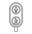 city pedestrian traffic lights icon outline style vector image