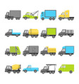 collection of truck icons in flat style vector image vector image