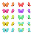 colored butterflies isolated on white background vector image vector image