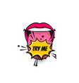 comic text pop art tongue mouth girl power vector image vector image