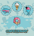 confectionary flat concept icons vector image vector image
