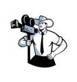 cowboy cameraman vintage movie camera retro vector image vector image