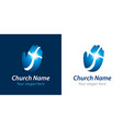 cross on hand church logo concept vector image vector image