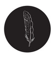 detailed outline feather in a black circle vector image vector image