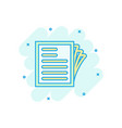 document note icon in comic style paper sheet vector image vector image