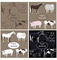 Farm animals on dark background vector image vector image