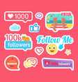 follow me followers and likes stickers vector image vector image