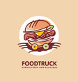 food truck logo design idea with juicy burger vector image