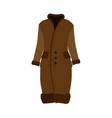 fur winter brown coat beautiful clothing icon vector image vector image