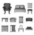 furniture and interior monochrome icons in set vector image