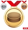 Gold Medal with the symbol of puck ice hockey vector image vector image