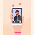 hand holding smartphone with portrait bearded vector image vector image