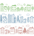 Houses doodles seamless pattern vector image vector image