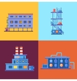 Industrial factory buildings icons set in flat vector image vector image