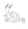 Magic dragon and shell on a white background vector image vector image