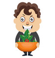 man holding plant on white background vector image vector image