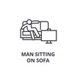 man sitting on sofa thin line icon sign symbol vector image vector image