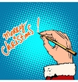 Merry Christmas Santa Claus signed vector image vector image