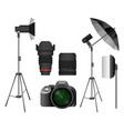modern camera with lenses and lighting equipment vector image