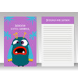 notebook for teenagers with monster vector image vector image