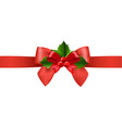 red ribbon with holly berry white background vector image vector image