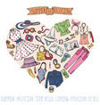 sammer fashion setwomancolored wear in heart vector image vector image