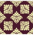 Seamless pattern in damask style with leaves vector image vector image